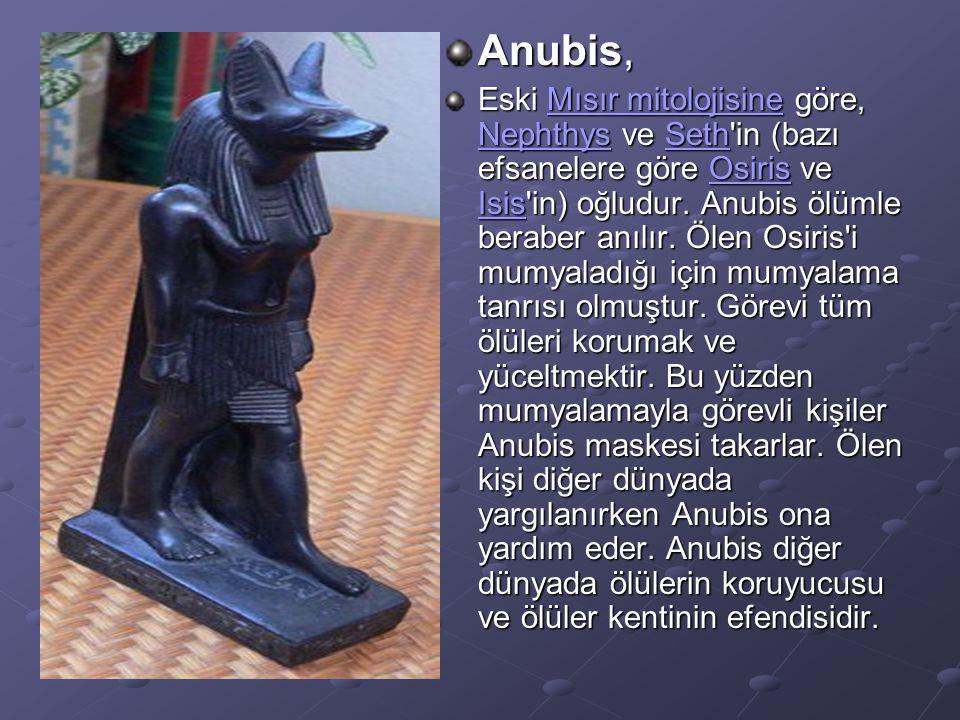 Anubis, Eski Mısır mitolojisine göre, Nephthys ve Seth'in (bazı efsanelere göre Osiris ve Isis'in) oğludur. Anubis ölümle beraber anılır. Ölen Osiris'