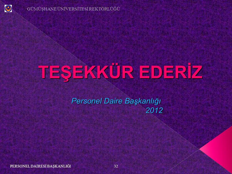 TEŞEKKÜR EDERİZ Personel Daire Başkanlığı 2012 2012 32 GÜMÜŞHANE ÜNİVERSİTESİ REKTÖRLÜĞÜ PERSONEL DAİRESİ BAŞKANLIĞI