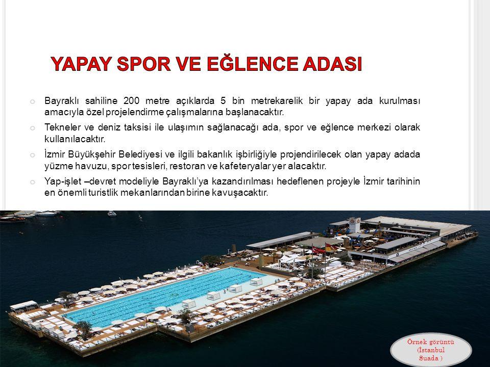 Bayraklı sahiline 200 metre açıklarda 5 bin metrekarelik bir yapay ada kurulması amacıyla özel projelendirme çalışmalarına başlanacaktır.
