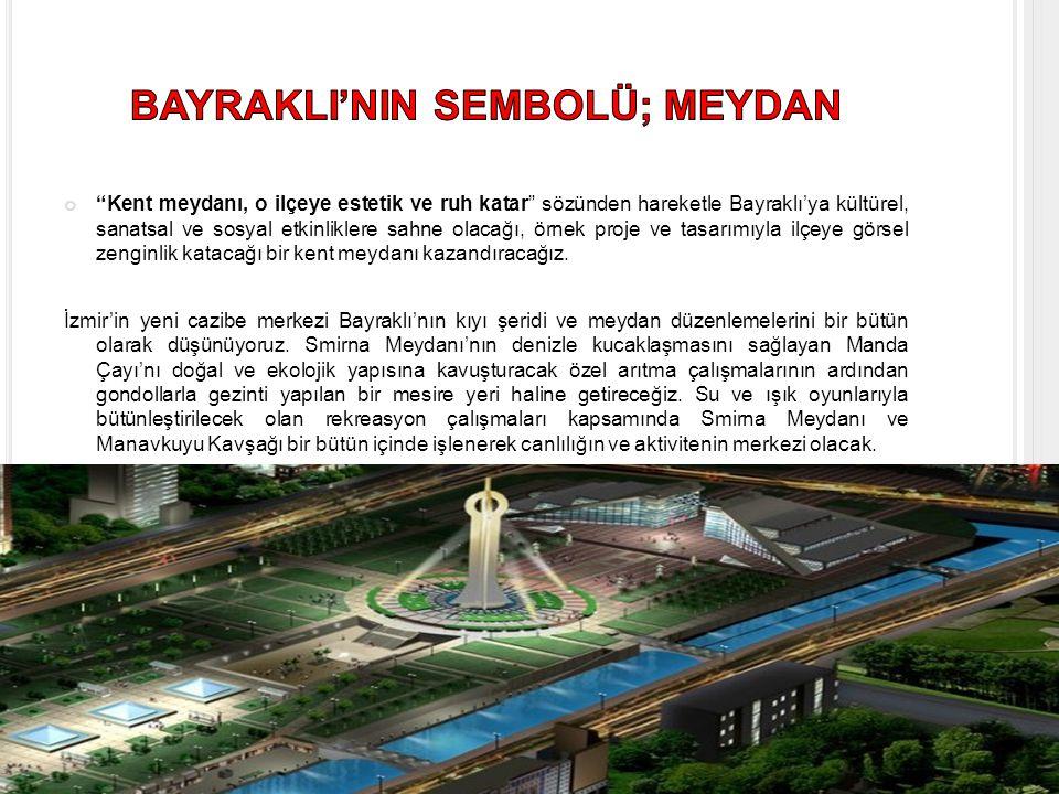 Kent meydanı, o ilçeye estetik ve ruh katar sözünden hareketle Bayraklı'ya kültürel, sanatsal ve sosyal etkinliklere sahne olacağı, örnek proje ve tasarımıyla ilçeye görsel zenginlik katacağı bir kent meydanı kazandıracağız.