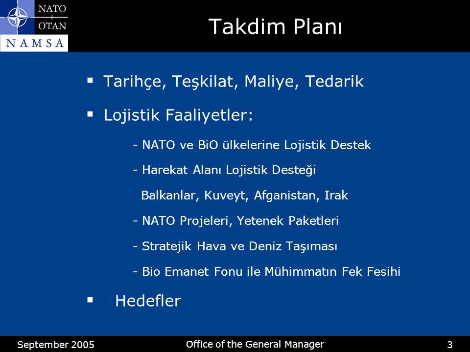 September 2005 Office of the General Manager 3 Takdim Planı  Tarihçe, Teşkilat, Maliye, Tedarik  Lojistik Faaliyetler: - NATO ve BiO ülkelerine Lojistik Destek - Harekat Alanı Lojistik Desteği Balkanlar, Kuveyt, Afganistan, Irak - NATO Projeleri, Yetenek Paketleri - Stratejik Hava ve Deniz Taşıması - Bio Emanet Fonu ile Mühimmatın Fek Fesihi  Hedefler