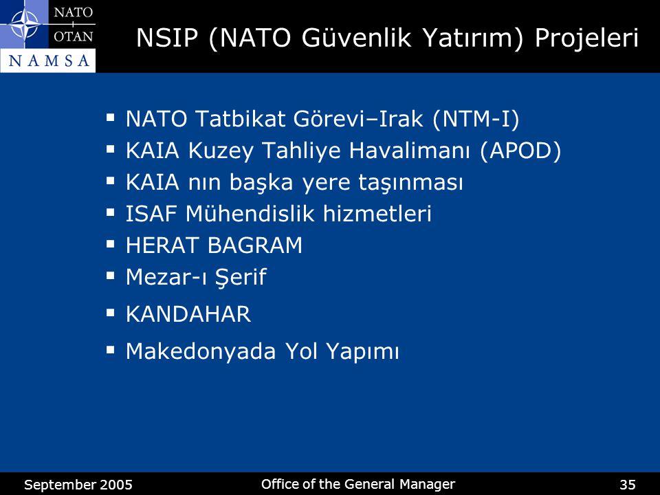 September 2005 Office of the General Manager 35 NSIP (NATO Güvenlik Yatırım) Projeleri  NATO Tatbikat Görevi–Irak (NTM-I)  KAIA Kuzey Tahliye Havali