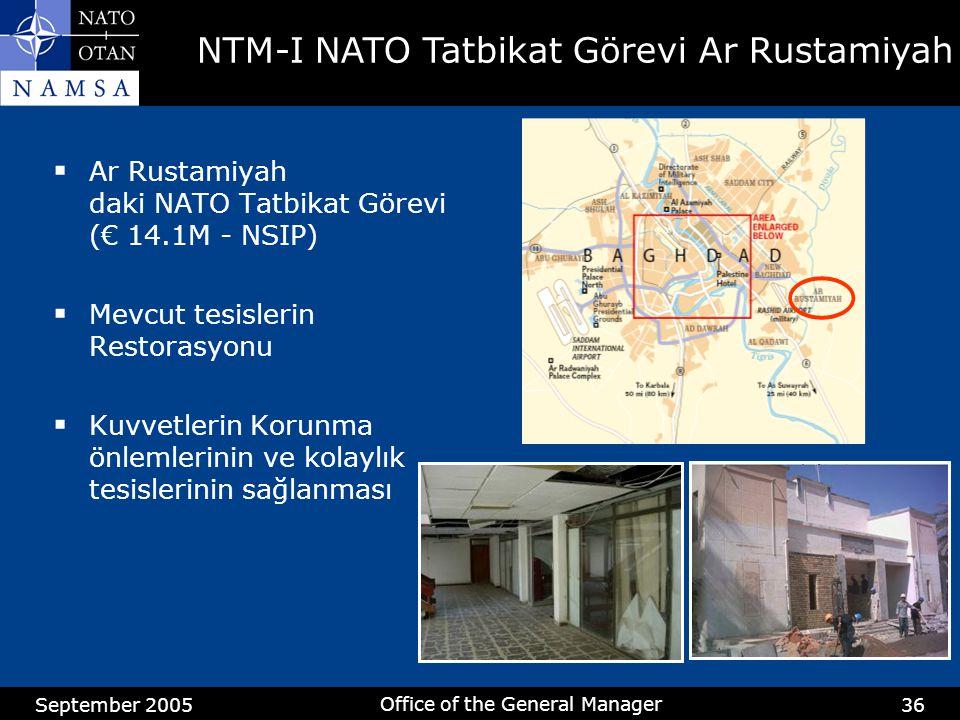 September 2005 Office of the General Manager 36  Ar Rustamiyah daki NATO Tatbikat Görevi (€ 14.1M - NSIP)  Mevcut tesislerin Restorasyonu  Kuvvetle