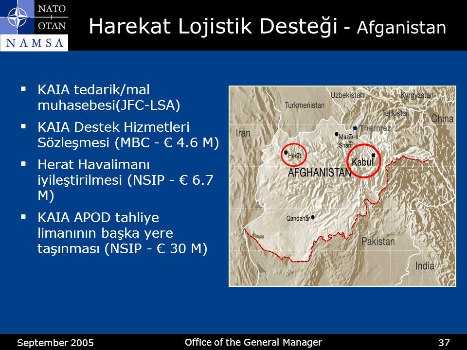 September 2005 Office of the General Manager 37  KAIA tedarik/mal muhasebesi(JFC-LSA)  KAIA Destek Hizmetleri Sözleşmesi (MBC - € 4.6 M)  Herat Havalimanı iyileştirilmesi (NSIP - € 6.7 M)  KAIA APOD tahliye limanının başka yere taşınması (NSIP - € 30 M) Thermez Harekat Lojistik Desteği - Afganistan