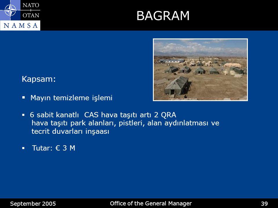 September 2005 Office of the General Manager 39 BAGRAM Kapsam:  Mayın temizleme işlemi  6 sabit kanatlı CAS hava taşıtı artı 2 QRA hava taşıtı park alanları, pistleri, alan aydınlatması ve tecrit duvarları inşaası  Tutar: € 3 M