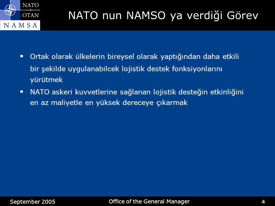 September 2005 Office of the General Manager 4 NATO nun NAMSO ya verdiği Görev  Ortak olarak ülkelerin bireysel olarak yaptığından daha etkili bir şekilde uygulanabilcek lojistik destek fonksiyonlarını yürütmek  NATO askeri kuvvetlerine sağlanan lojistik desteğin etkinliğini en az maliyetle en yüksek dereceye çıkarmak