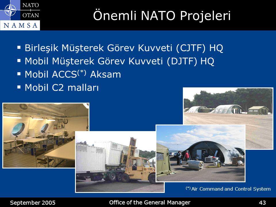 September 2005 Office of the General Manager 43 Önemli NATO Projeleri  Birleşik Müşterek Görev Kuvveti (CJTF) HQ  Mobil Müşterek Görev Kuvveti (DJTF