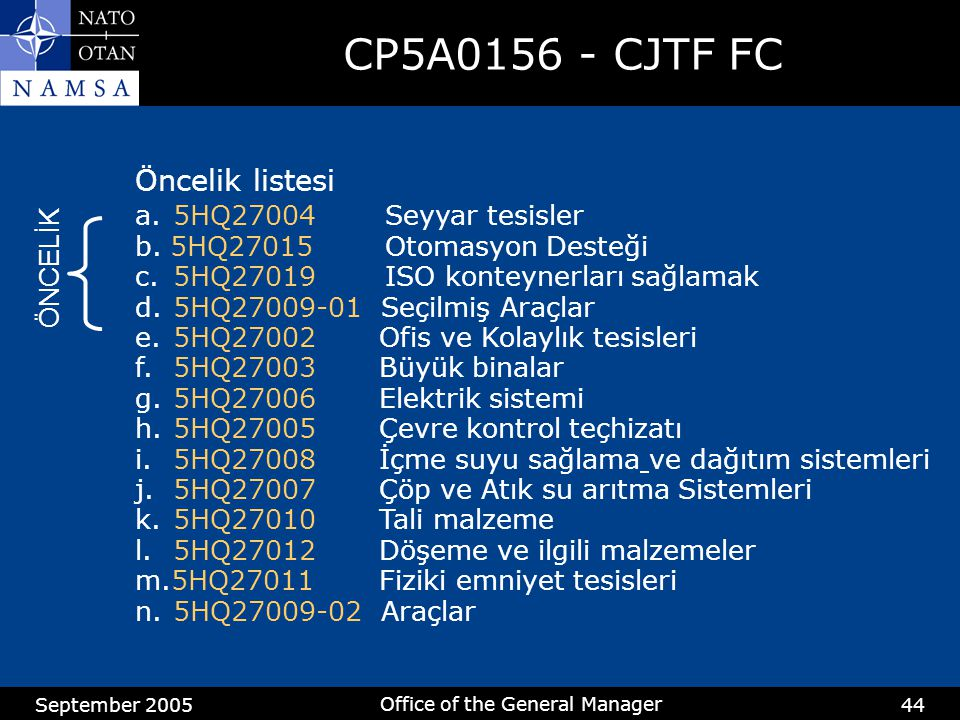 September 2005 Office of the General Manager 44 CP5A0156 - CJTF FC Öncelik listesi a.5HQ27004 Seyyar tesisler b.