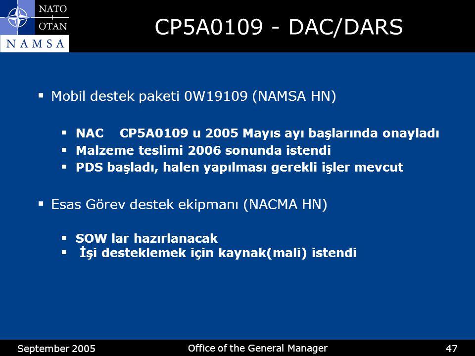 September 2005 Office of the General Manager 47 CP5A0109 - DAC/DARS  Mobil destek paketi 0W19109 (NAMSA HN)  NAC CP5A0109 u 2005 Mayıs ayı başlarında onayladı  Malzeme teslimi 2006 sonunda istendi  PDS başladı, halen yapılması gerekli işler mevcut  Esas Görev destek ekipmanı (NACMA HN)  SOW lar hazırlanacak  İşi desteklemek için kaynak(mali) istendi