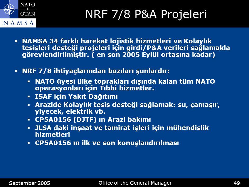 September 2005 Office of the General Manager 49 NRF 7/8 P&A Projeleri  NAMSA 34 farklı harekat lojistik hizmetleri ve Kolaylık tesisleri desteği projeleri için girdi/P&A verileri sağlamakla görevlendirilmiştir.