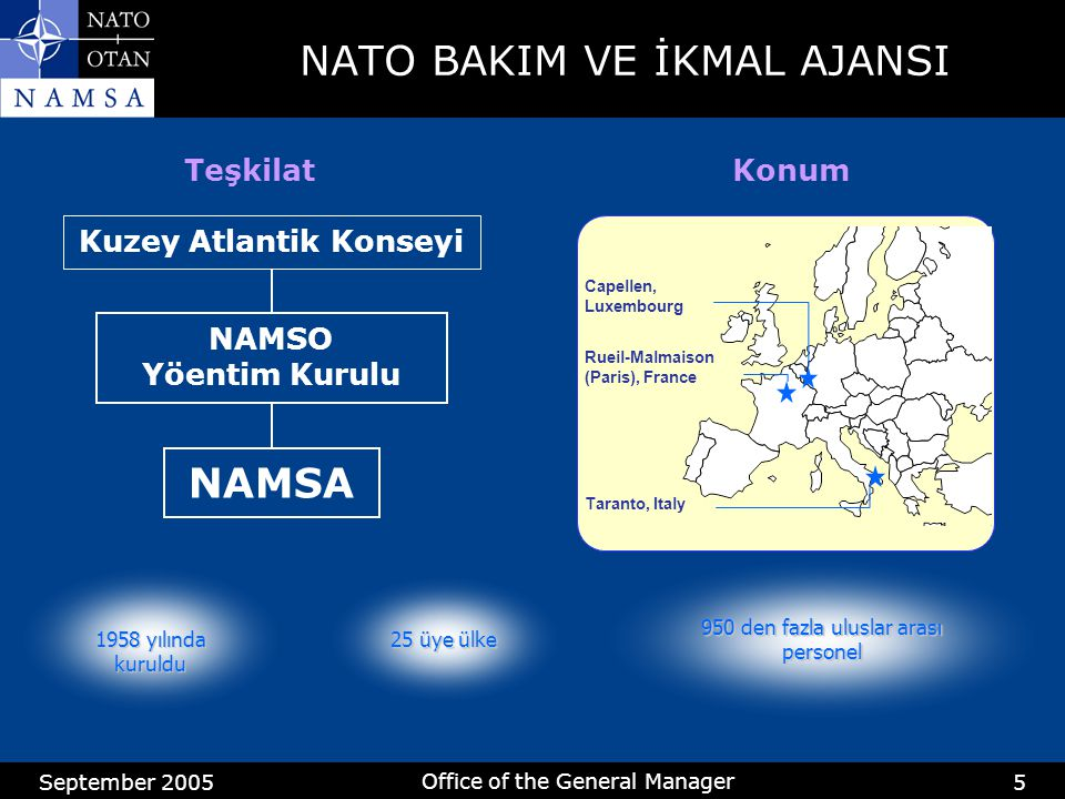 September 2005 Office of the General Manager 5 Kuzey Atlantik Konseyi NAMSO Yöentim Kurulu NAMSA NATO BAKIM VE İKMAL AJANSI Capellen, Luxembourg Rueil