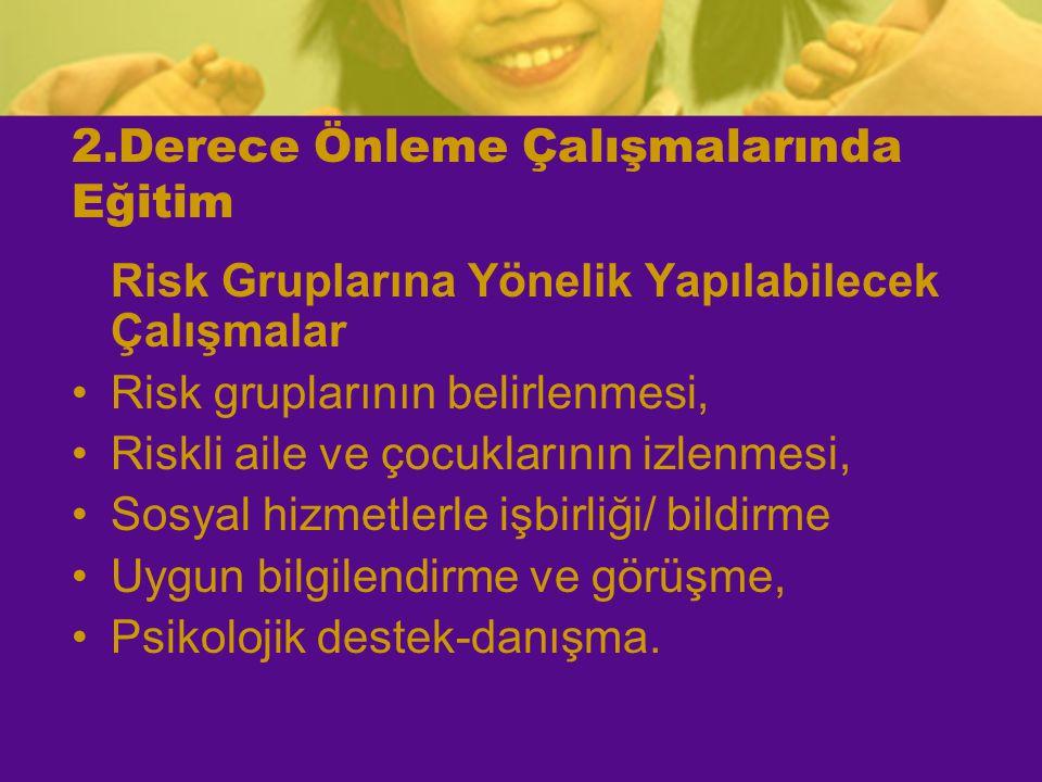 2.Derece Önleme Çalışmalarında Eğitim Risk Gruplarına Yönelik Yapılabilecek Çalışmalar Risk gruplarının belirlenmesi, Riskli aile ve çocuklarının izle
