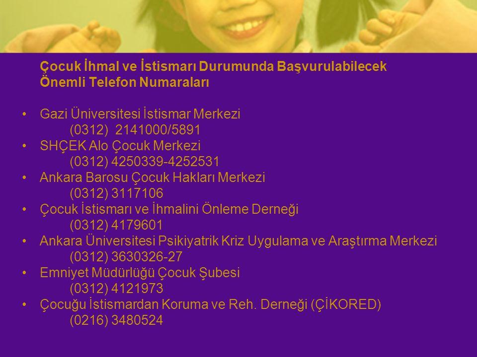Çocuk İhmal ve İstismarı Durumunda Başvurulabilecek Önemli Telefon Numaraları Gazi Üniversitesi İstismar Merkezi (0312) 2141000/5891 SHÇEK Alo Çocuk M