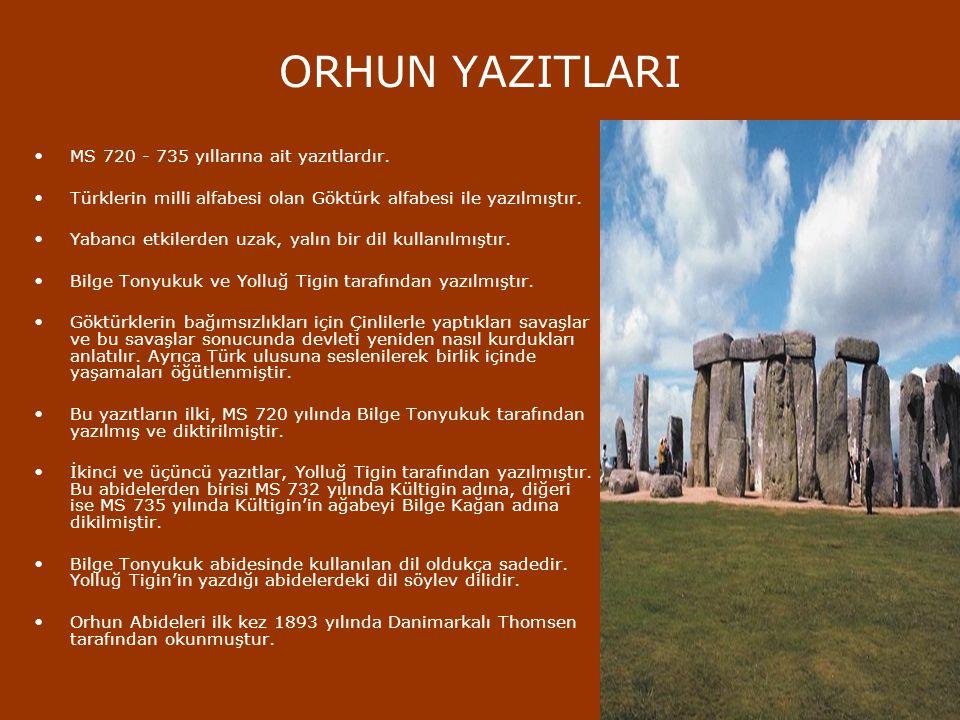 YAZILI EDEBİYAT İslam öncesi Türk edebiyatına ait, bilinen yazılı ürün çok azdır. Bilinen ilk eser mezar taşları yazılarıdır. Türkler bu dönemde Göktü