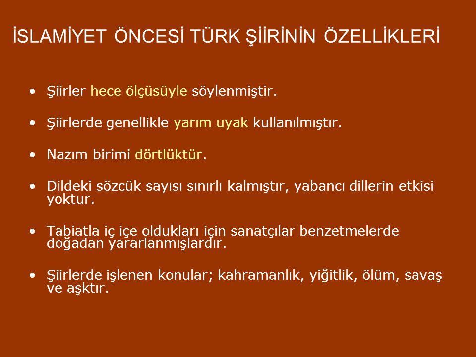 SÖZLÜ EDEBİYAT Yazının bulunuşundan önce her toplumda olduğu Türklerde de kendilerine özgü sözlü edebiyat ürünleri vardı. Bunlar, eski Türk toplumları