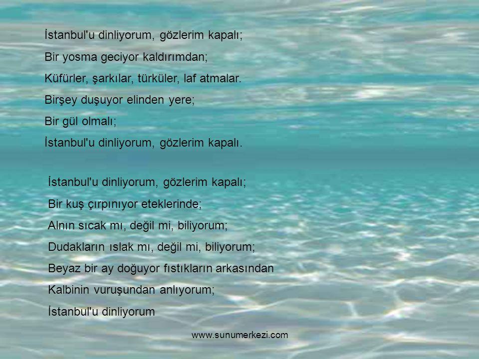 İstanbul u dinliyorum, gözlerim kapalı; Bir yosma geciyor kaldırımdan; Küfürler, şarkılar, türküler, laf atmalar.