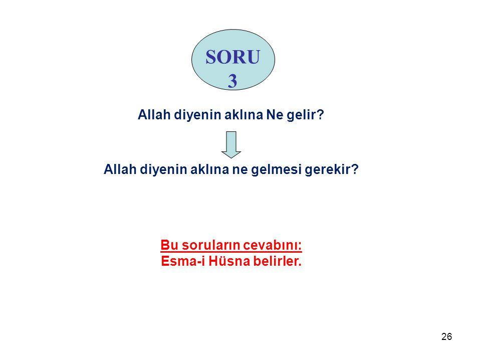 SORU 3 Allah diyenin aklına Ne gelir? Allah diyenin aklına ne gelmesi gerekir? Bu soruların cevabını: Esma-i Hüsna belirler. 26