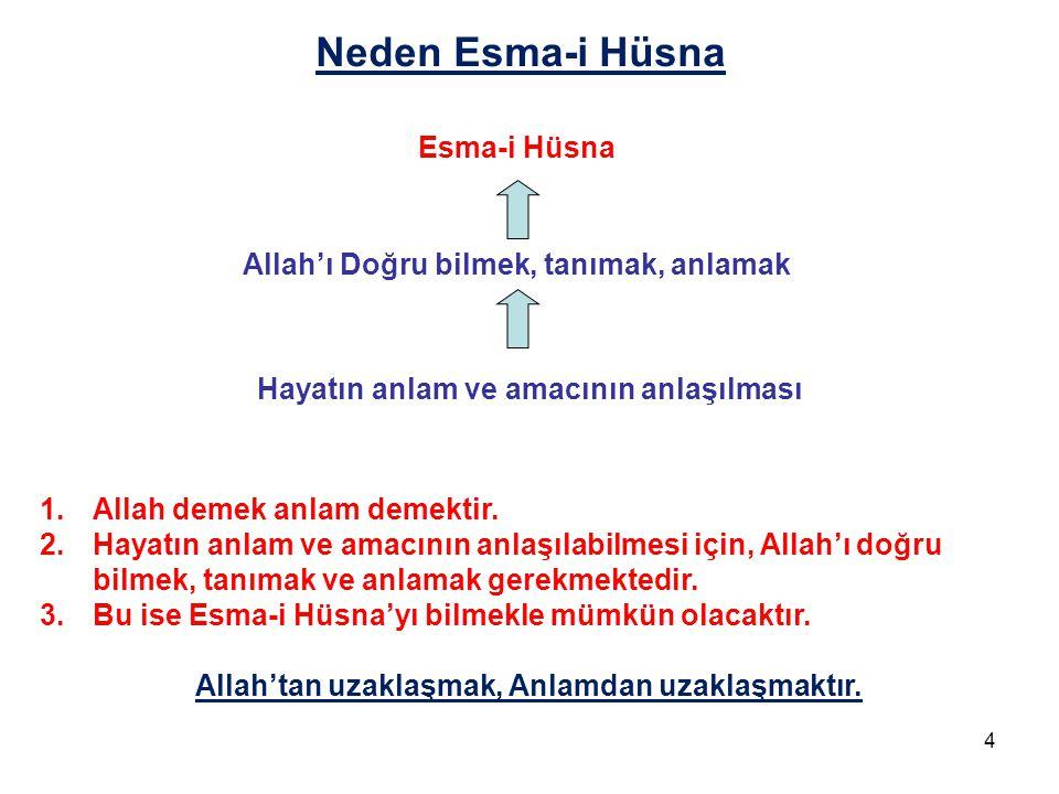 Neden Esma-i Hüsna Esma-i Hüsna Allah'ı Doğru bilmek, tanımak, anlamak Hayatın anlam ve amacının anlaşılması 1.Allah demek anlam demektir. 2.Hayatın a