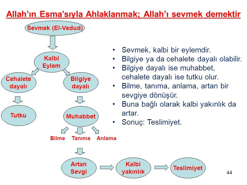 Sevmek (El-Vedud) Allah'ın Esma'sıyla Ahlaklanmak; Allah'ı sevmek demektir Cehalete dayalı Kalbi Eylem Bilgiye dayalı Tutku Muhabbet BilmeTanımaAnlama