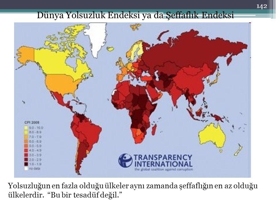 """Dünya Yolsuzluk Endeksi ya da Şeffaflık Endeksi Yolsuzluğun en fazla olduğu ülkeler aynı zamanda şeffaflığın en az olduğu ülkelerdir. """"Bu bir tesadüf"""