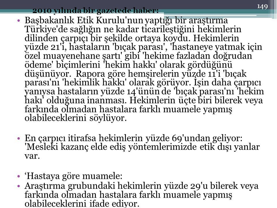 2010 yılında bir gazetede haber: Başbakanlık Etik Kurulu'nun yaptığı bir araştırma Türkiye'de sağlığın ne kadar ticarileştiğini hekimlerin dilinden ça