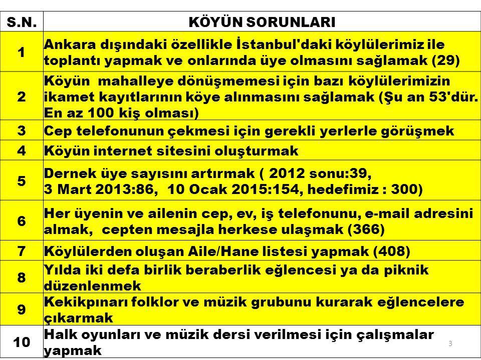 S.N.KÖYÜN SORUNLARI 1 Ankara dışındaki özellikle İstanbul daki köylülerimiz ile toplantı yapmak ve onlarında üye olmasını sağlamak (29) 2 Köyün mahalleye dönüşmemesi için bazı köylülerimizin ikamet kayıtlarının köye alınmasını sağlamak (Şu an 53 dür.