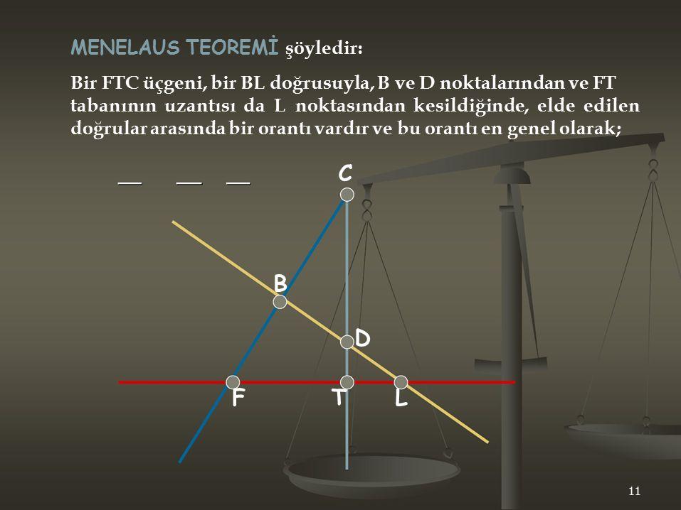 C MENELAUS TEOREMİ şöyledir: Bir FTC üçgeni, bir BL doğrusuyla, B ve D noktalarından ve FT tabanının uzantısı da L noktasından kesildiğinde, elde edil