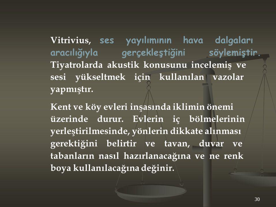 Vitrivius, ses yayılımının hava dalgaları aracılığıyla gerçekleştiğini söylemiştir. Tiyatrolarda akustik konusunu incelemiş ve sesi yükseltmek için ku