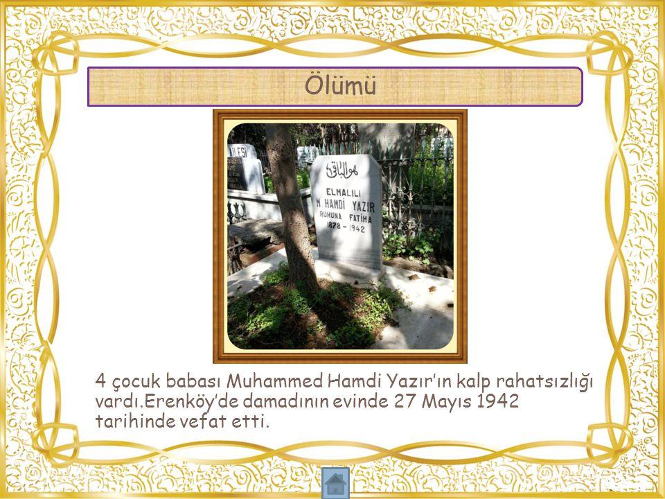 4 çocuk babası Muhammed Hamdi Yazır'ın kalp rahatsızlığı vardı.Erenköy'de damadının evinde 27 Mayıs 1942 tarihinde vefat etti. Ölümü