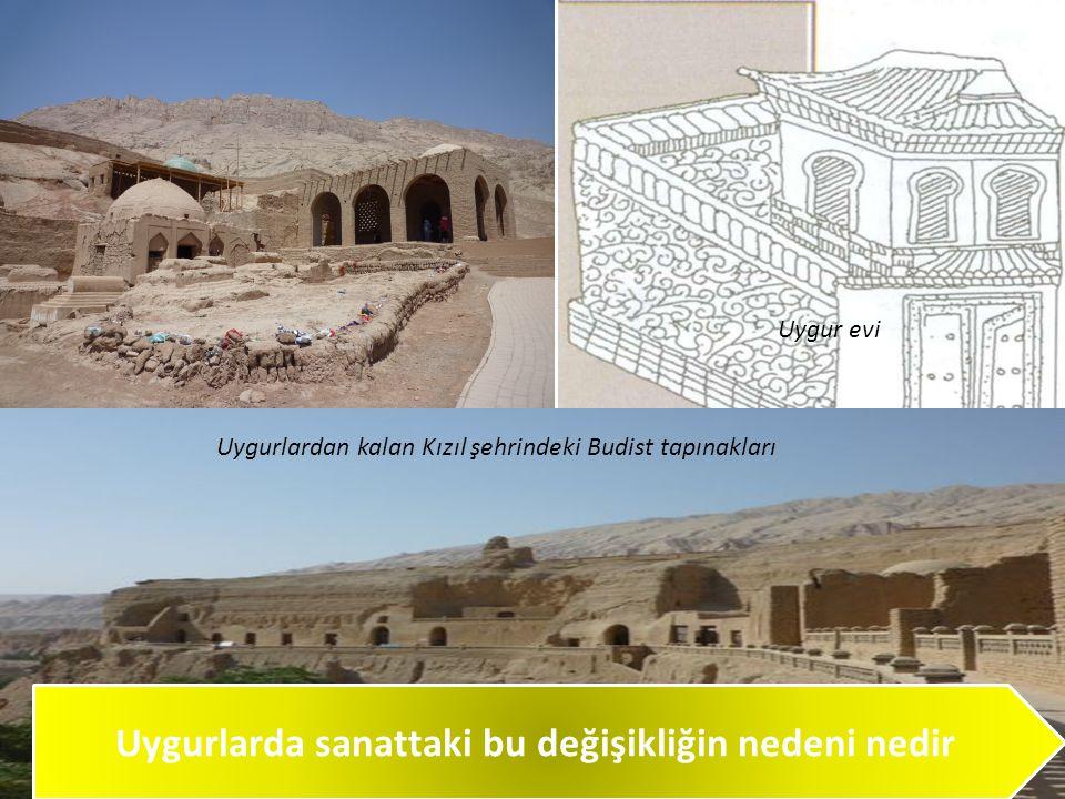 Uygurlarda sanattaki bu değişikliğin nedeni nedir Uygurlardan kalan Kızıl şehrindeki Budist tapınakları Uygur evi
