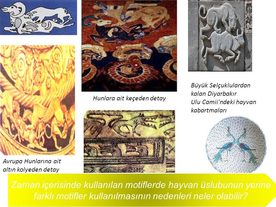 Avrupa Hunlarına ait altın kolyeden detay Hunlara ait keçeden detay Büyük Selçuklulardan kalan Diyarbakır Ulu Camii'ndeki hayvan kabartmaları Kurt baş