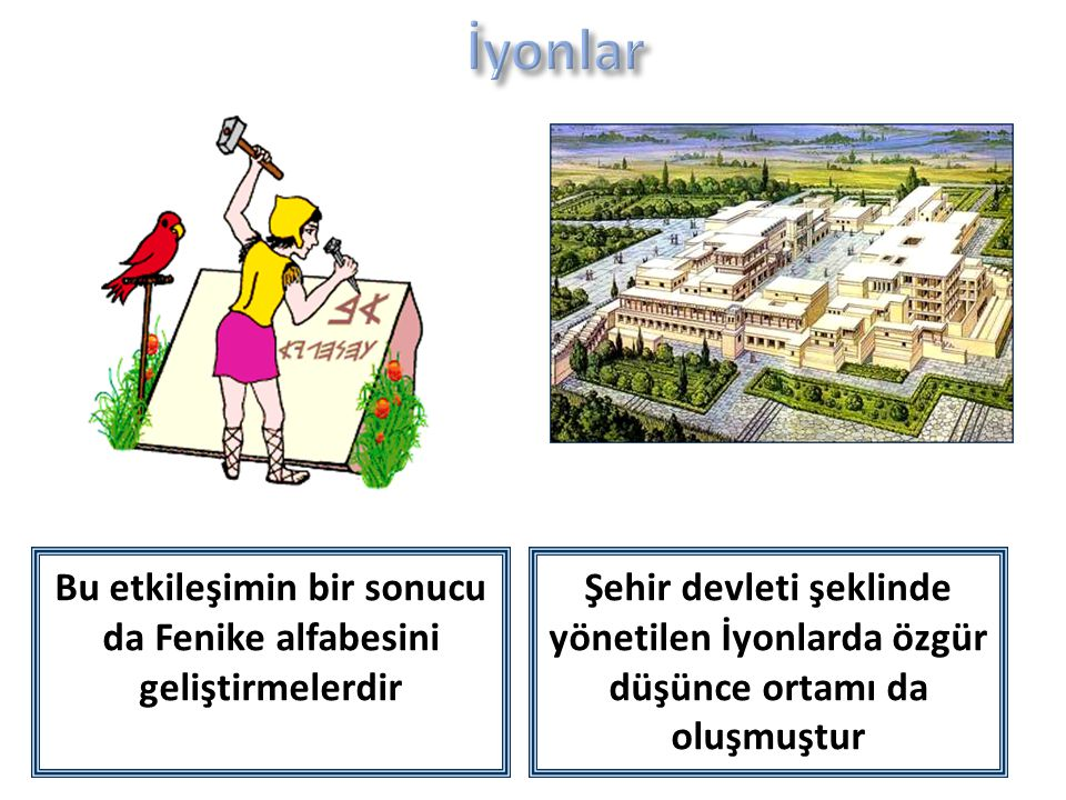 Şehir devleti şeklinde yönetilen İyonlarda özgür düşünce ortamı da oluşmuştur Bu etkileşimin bir sonucu da Fenike alfabesini geliştirmelerdir