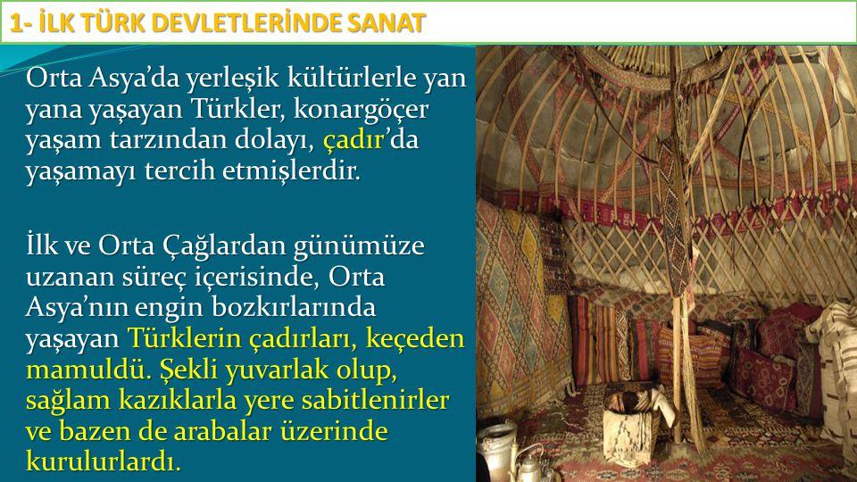 Orta Asya'da yerleşik kültürlerle yan yana yaşayan Türkler, konargöçer yaşam tarzından dolayı, çadır'da yaşamayı tercih etmişlerdir. İlk ve Orta Çağla