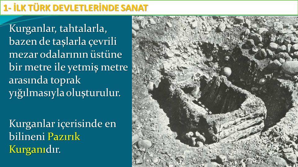 Kurganlar, tahtalarla, bazen de taşlarla çevrili mezar odalarının üstüne bir metre ile yetmiş metre arasında toprak yığılmasıyla oluşturulur. Kurganla
