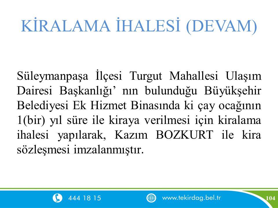 KİRALAMA İHALESİ (DEVAM) Süleymanpaşa İlçesi Turgut Mahallesi Ulaşım Dairesi Başkanlığı' nın bulunduğu Büyükşehir Belediyesi Ek Hizmet Binasında ki ça