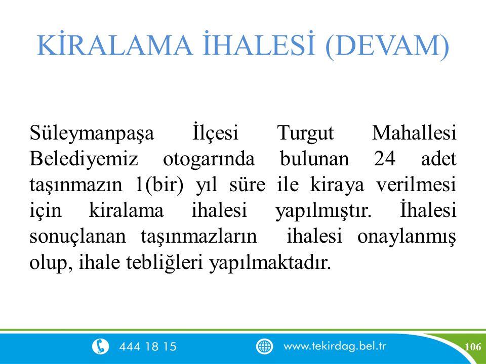 KİRALAMA İHALESİ (DEVAM) Süleymanpaşa İlçesi Turgut Mahallesi Belediyemiz otogarında bulunan 24 adet taşınmazın 1(bir) yıl süre ile kiraya verilmesi i
