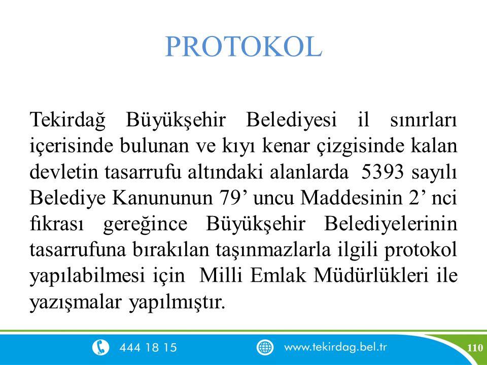 PROTOKOL Tekirdağ Büyükşehir Belediyesi il sınırları içerisinde bulunan ve kıyı kenar çizgisinde kalan devletin tasarrufu altındaki alanlarda 5393 say