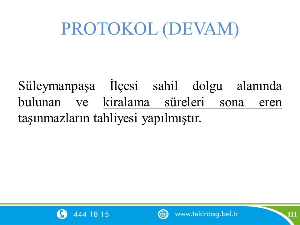 PROTOKOL (DEVAM) Süleymanpaşa İlçesi sahil dolgu alanında bulunan ve kiralama süreleri sona eren taşınmazların tahliyesi yapılmıştır. 111