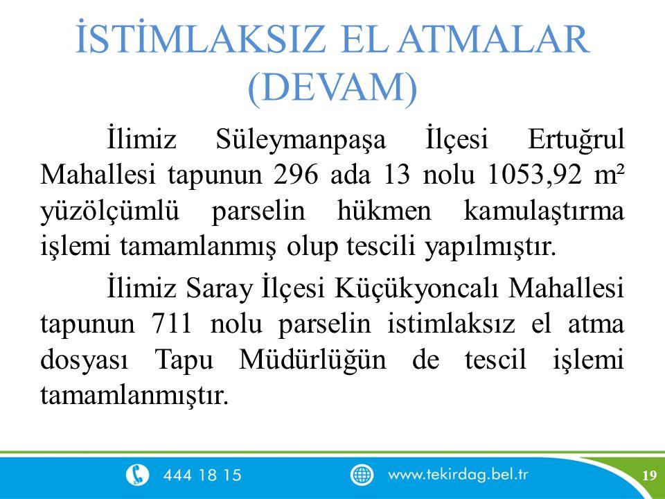 İSTİMLAKSIZ EL ATMALAR (DEVAM) İlimiz Süleymanpaşa İlçesi Ertuğrul Mahallesi tapunun 296 ada 13 nolu 1053,92 m² yüzölçümlü parselin hükmen kamulaştırm