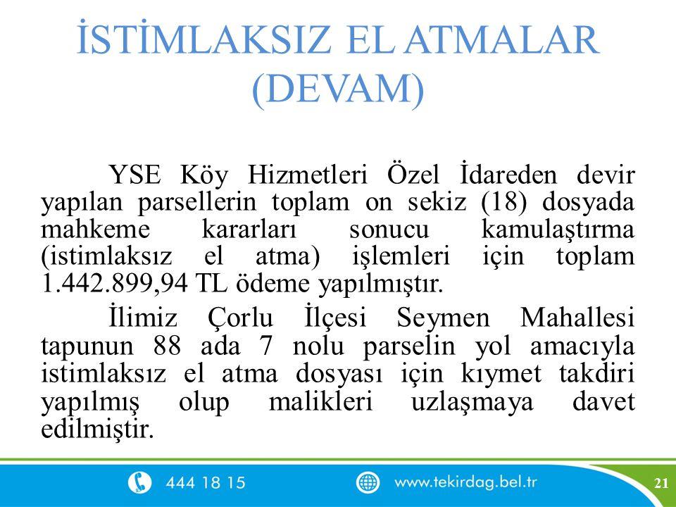 İSTİMLAKSIZ EL ATMALAR (DEVAM) YSE Köy Hizmetleri Özel İdareden devir yapılan parsellerin toplam on sekiz (18) dosyada mahkeme kararları sonucu kamula