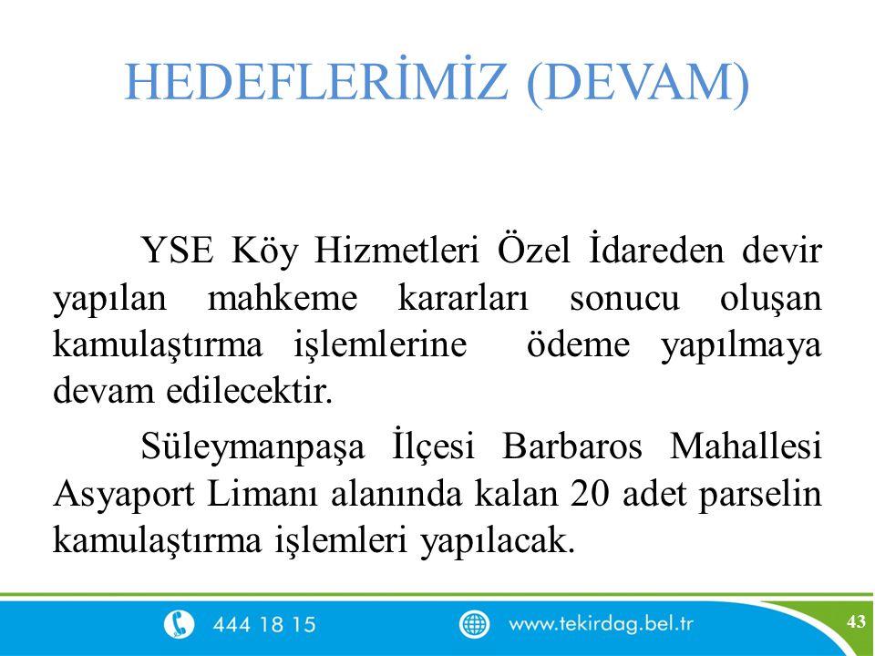 HEDEFLERİMİZ (DEVAM) YSE Köy Hizmetleri Özel İdareden devir yapılan mahkeme kararları sonucu oluşan kamulaştırma işlemlerine ödeme yapılmaya devam edi