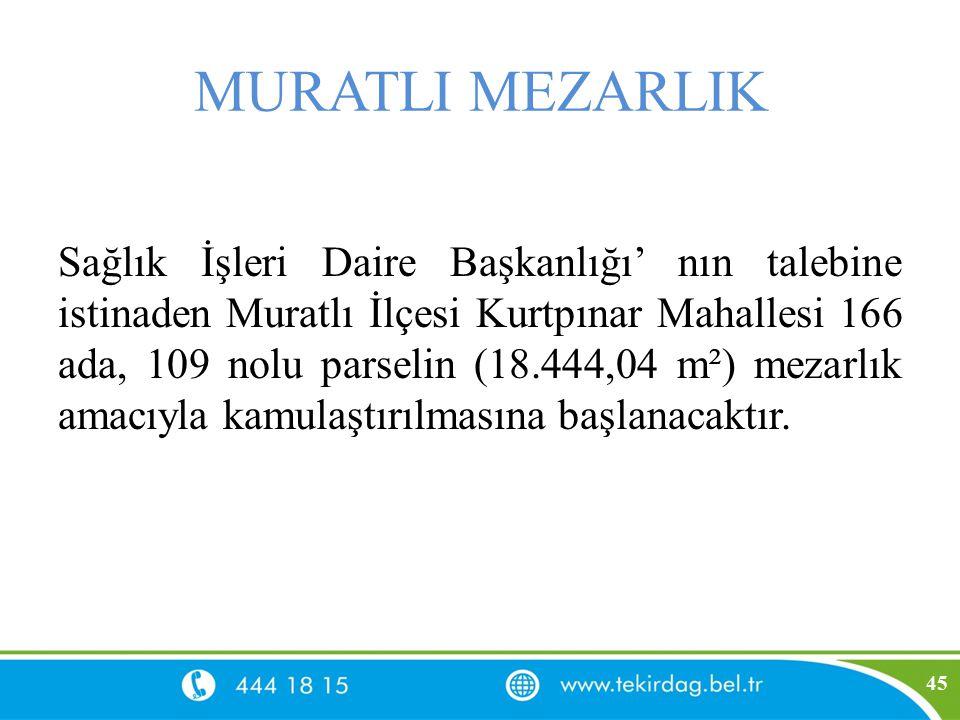 MURATLI MEZARLIK Sağlık İşleri Daire Başkanlığı' nın talebine istinaden Muratlı İlçesi Kurtpınar Mahallesi 166 ada, 109 nolu parselin (18.444,04 m²) m