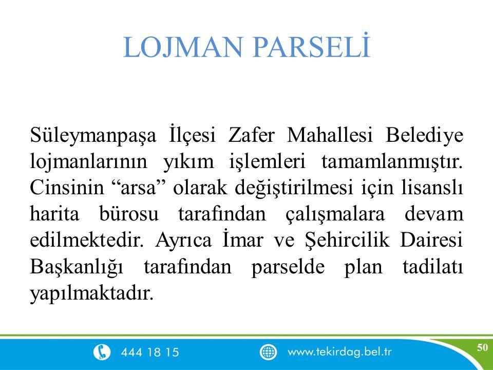 """LOJMAN PARSELİ Süleymanpaşa İlçesi Zafer Mahallesi Belediye lojmanlarının yıkım işlemleri tamamlanmıştır. Cinsinin """"arsa"""" olarak değiştirilmesi için l"""