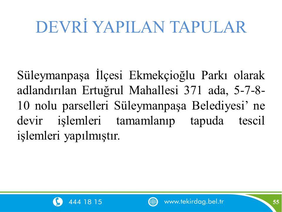 DEVRİ YAPILAN TAPULAR Süleymanpaşa İlçesi Ekmekçioğlu Parkı olarak adlandırılan Ertuğrul Mahallesi 371 ada, 5-7-8- 10 nolu parselleri Süleymanpaşa Bel