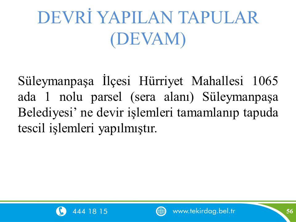 DEVRİ YAPILAN TAPULAR (DEVAM) Süleymanpaşa İlçesi Hürriyet Mahallesi 1065 ada 1 nolu parsel (sera alanı) Süleymanpaşa Belediyesi' ne devir işlemleri t