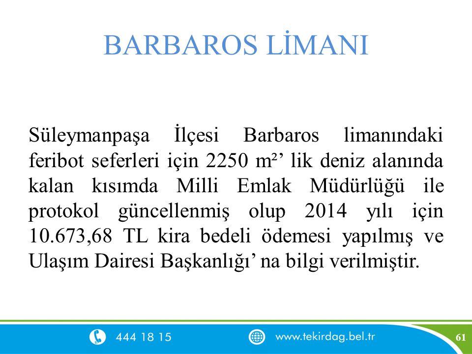 BARBAROS LİMANI Süleymanpaşa İlçesi Barbaros limanındaki feribot seferleri için 2250 m²' lik deniz alanında kalan kısımda Milli Emlak Müdürlüğü ile pr