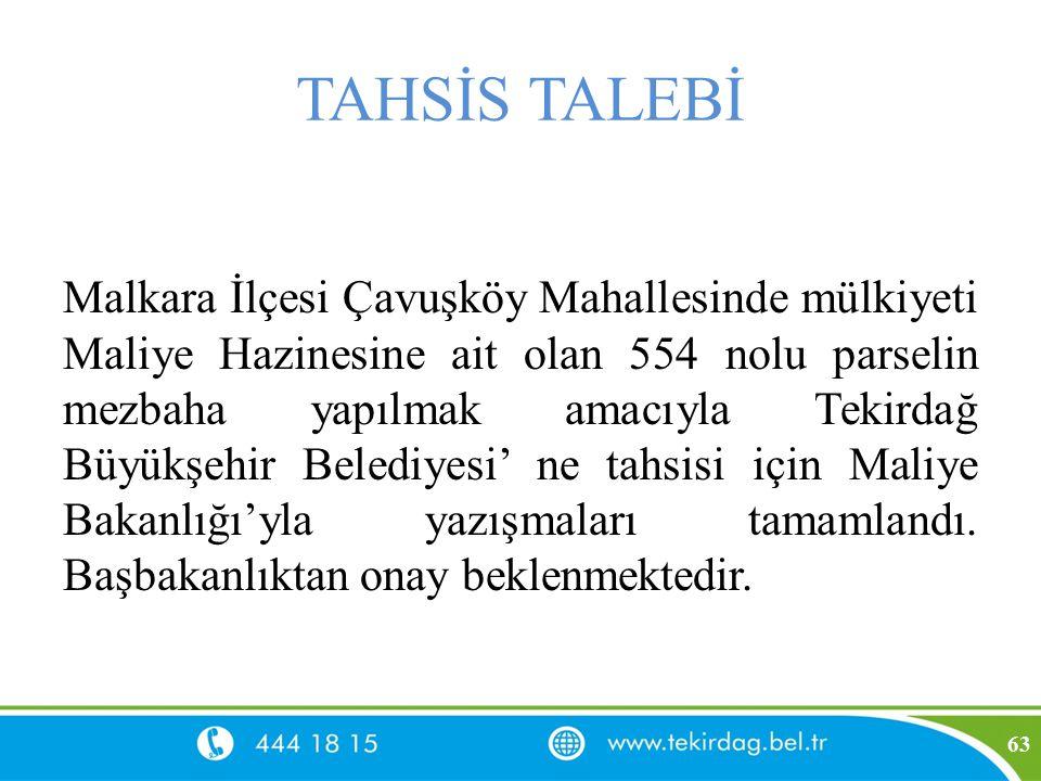 TAHSİS TALEBİ Malkara İlçesi Çavuşköy Mahallesinde mülkiyeti Maliye Hazinesine ait olan 554 nolu parselin mezbaha yapılmak amacıyla Tekirdağ Büyükşehi
