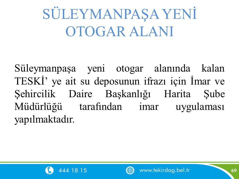 SÜLEYMANPAŞA YENİ OTOGAR ALANI Süleymanpaşa yeni otogar alanında kalan TESKİ' ye ait su deposunun ifrazı için İmar ve Şehircilik Daire Başkanlığı Hari