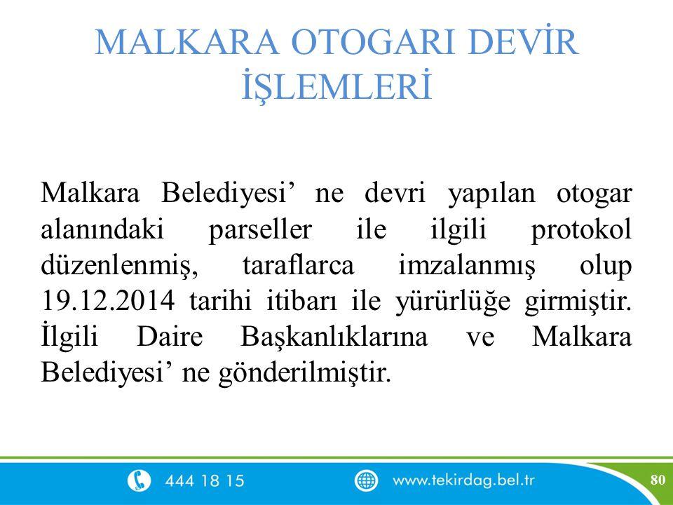 MALKARA OTOGARI DEVİR İŞLEMLERİ Malkara Belediyesi' ne devri yapılan otogar alanındaki parseller ile ilgili protokol düzenlenmiş, taraflarca imzalanmı
