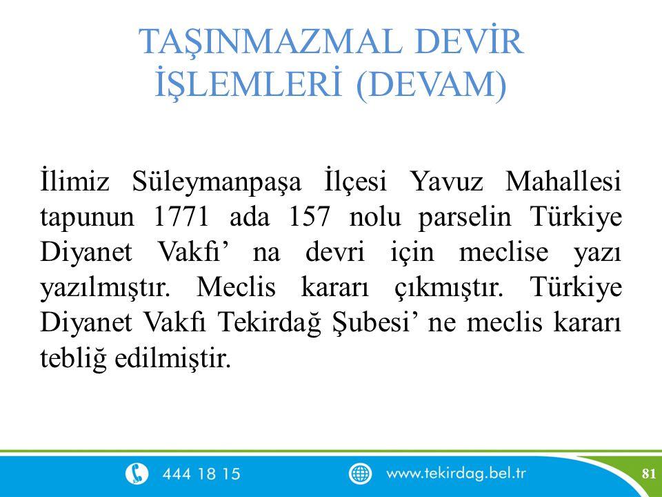 TAŞINMAZMAL DEVİR İŞLEMLERİ (DEVAM) İlimiz Süleymanpaşa İlçesi Yavuz Mahallesi tapunun 1771 ada 157 nolu parselin Türkiye Diyanet Vakfı' na devri için